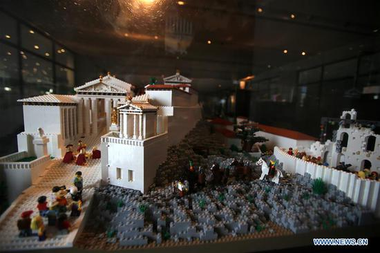 Acropolis maquette made with Lego bricks seen in Athens, Greece