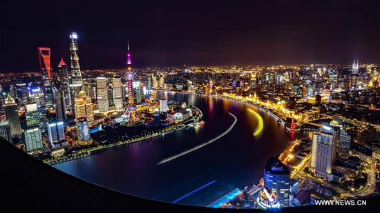 Photo taken on Nov. 2, 2018 shows the night view of Shanghai, east China. (Xinhua/Cai Yang)
