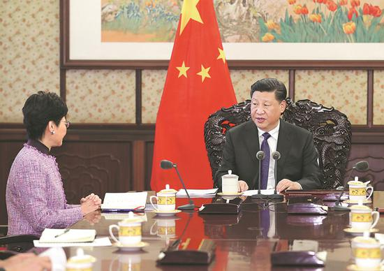 President Xi Jinping meets in Beijing on Monday with Carrie Lam Cheng Yuet-ngor, chief executive of the Hong Kong Special Administrative Region, to listen to her briefings on the year's work. XIE HUANCHI / XINHUA