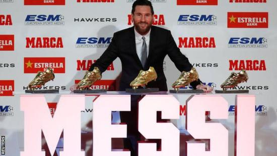 Messi receives record 5th Europe's Golden Shoe