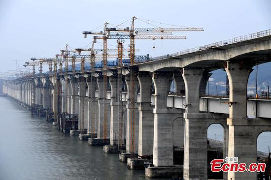 Cross-Straits highway-railway bridge under construction in Pingtan
