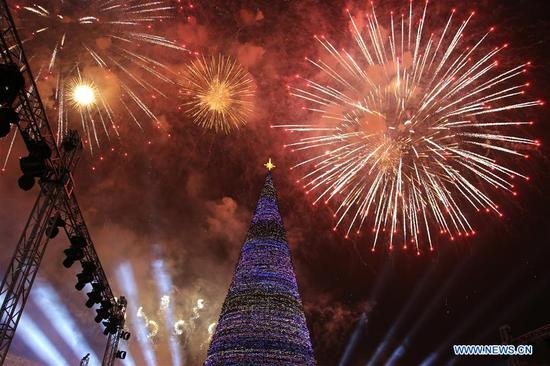 Lit-up Christmas tree shown at downtown Republic Square in Yerevan, Armenia