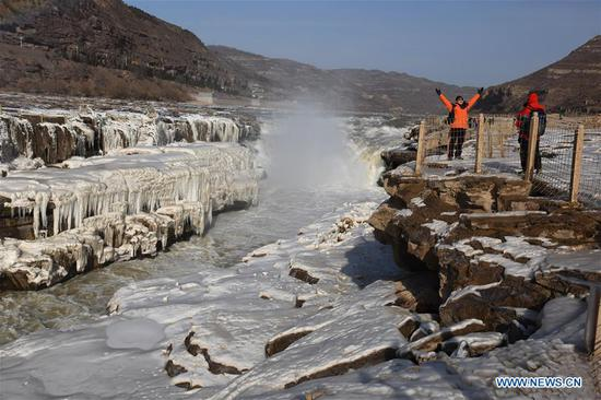 Icicles seen at Hukou Waterfall of Yellow River