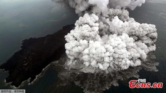 Aerial view of erupting Anak Krakatau volcano in Indonesia