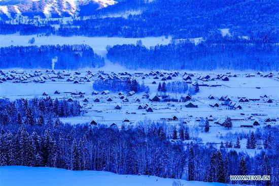 Winter view of Kanas scenic area in China's Xinjiang