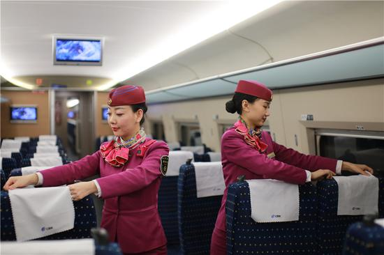 A day at work for a high-speed train attendant
