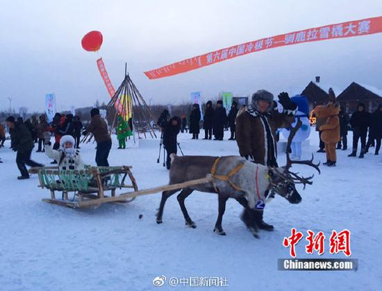 Reindeer race held in North China's Inner Mongolia