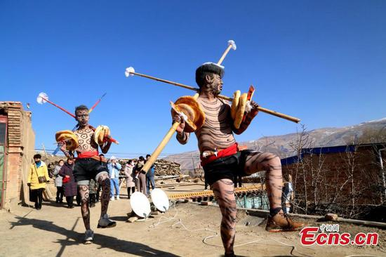 People of Tu ethnic group perform 'Wutu' dance in Qinghai
