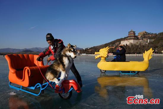 Kunming Lake at Summer Palace opens to public for ice games
