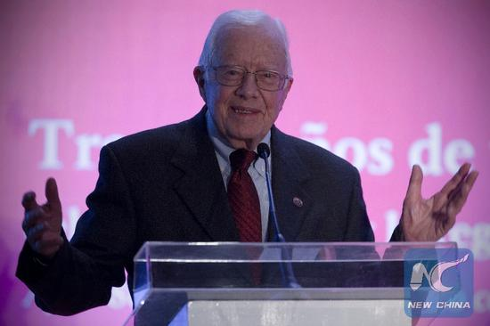 Former U.S. President Jimmy Carter delivers a speech during the opening ceremony of the Inter American Conference on Onchocerciasis in Mexico City, capital of Mexico, on Nov 14, 2014. (Photo/Xinhua)