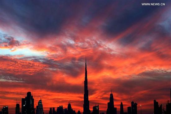 Burj Khalifa at sunset in Dubai
