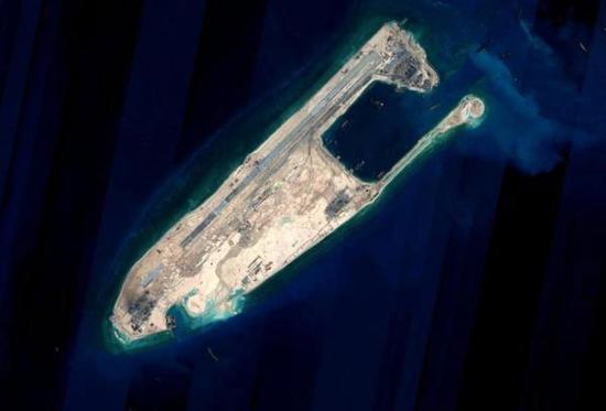 This satellite image shows the Yongshu Reef of China's Nansha Islands. (Photo/Xinhua)