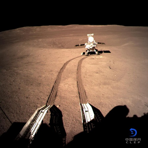 Photo provided by the China National Space Administration on Jan. 4, 2019 shows image of Yutu-2, China's lunar rover, at preset location A on the surface of the far side of the moon. Lunar rover Yutu-2 has been driving on the far side of the moon after separating from the lander and scientific devices on both the lander and rover are currently gathering data, the China National Space Administration (CNSA) said late Friday. (Xinhua)