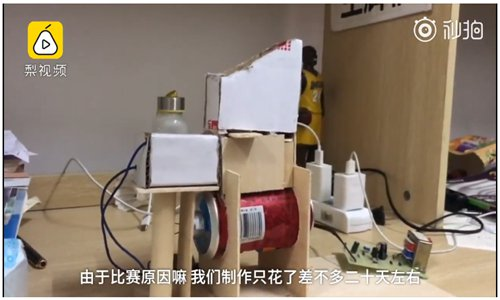 Zhang Xianxi and his friend make an automatic sunflower seed cracker, which helps people to become lazy. (Screenshot photo)