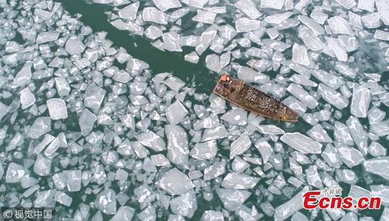 Sea of ice along China's east coast