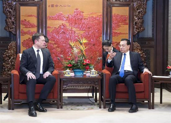 Chinese premier meets Tesla CEO