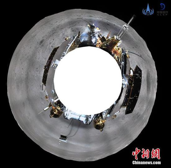A panoramic photo taken by a topographic camera installed on China's Chang'e-4 lunar probe. China's Chang'e-4 probe took panoramic photos on the lunar surface after it successfully made the first ever soft-landing on the far side of the moon.  (Photo provided by the China National Space Administration)