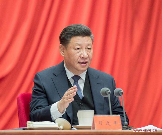 Chinese President Xi Jinping, also general secretary of the Communist Party of China (CPC) Central Committee and chairman of the Central Military Commission, addresses the third plenary session of the 19th Central Commission for Discipline Inspection of the CPC in Beijing, capital of China, Jan. 11, 2019. (Xinhua/Li Tao)