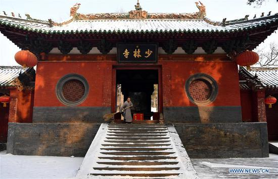 Scenery of snow-covered Shaolin Temple in Henan