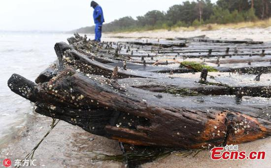 Shipwreck emerges after storms in Germany