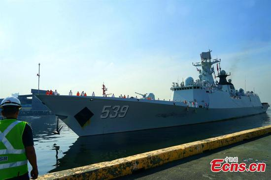 PLA Navy vessels arrive in the Philippines for a goodwill visit
