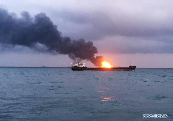 Two ships catch fire in Kerch Strait