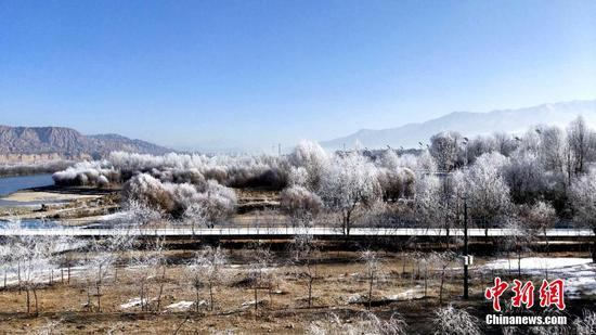 Amazing rime scenery along Yellow River