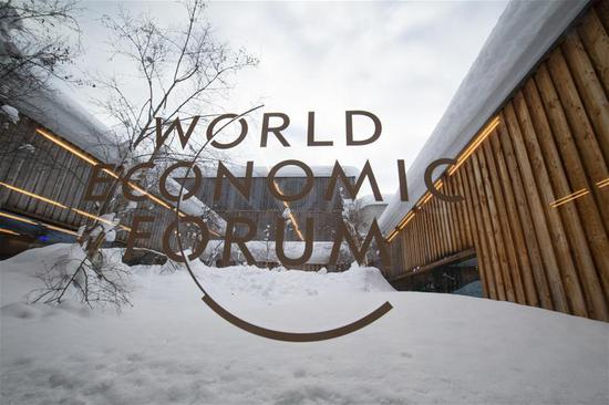 Photo taken on Jan. 21, 2019 shows the logo of the World Economic Forum (WEF) in Davos, Switzerland. (Xinhua/Xu Jinquan)
