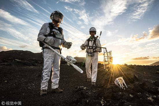 European Space Agency scientists moonwalk in Lanzarote
