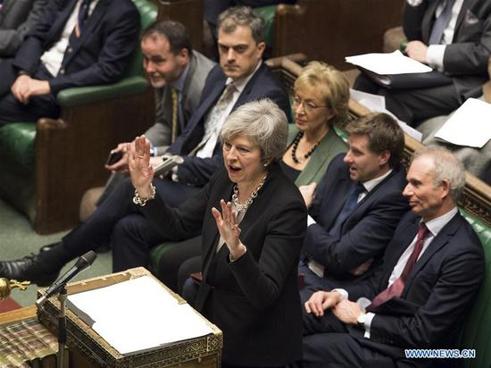 British Prime Minister Theresa May (Front) attends a debate on the Brexit deal amendments in the House of Commons in London, Britain, on Jan. 29, 2019. (Xinhua/UK Parliament/Mark Duffy)