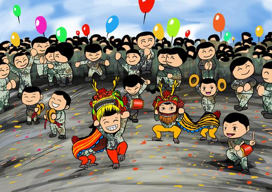 Armed police create Spring Festival cartoons