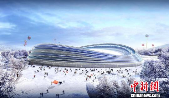 An artist's illustration shows the design sketch of the Olympic Oval. (Photo/China News Service)