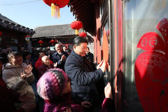 hinese President Xi Jinping, also general secretary of the Communist Party of China Central Committee and chairman of the Central Military Commission, visits residents' homes in Qianmen area in central Beijing, capital of China, Feb. 1, 2019. President Xi Jinping on Friday visited residents and primary-level officials in Beijing and extended Lunar New Year greetings to Chinese people of all ethnic groups. (Xinhua/Ju Peng)