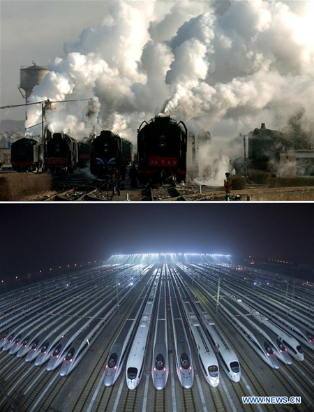 This combo photo shows old-style steam locomotives kept in extended service on the Jining-Tongliao railway in north China's Inner Mongolia Autonomous Region, Dec. 7, 2005 (top, photo taken by Zhang Ling); and bullet trains waiting for maintenance at a train depot in Wuhan, central China's Hubei Province, Jan. 20, 2019 (bottom, photo taken by Xiong Qi). (Xinhua)