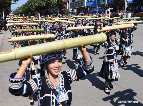 Parade held to celebrate Chinese Lunar New Year in SW China's Yunnan