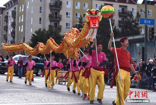 Annual Golden Dragon Parade for Chinese New Year held in LA Chinatown