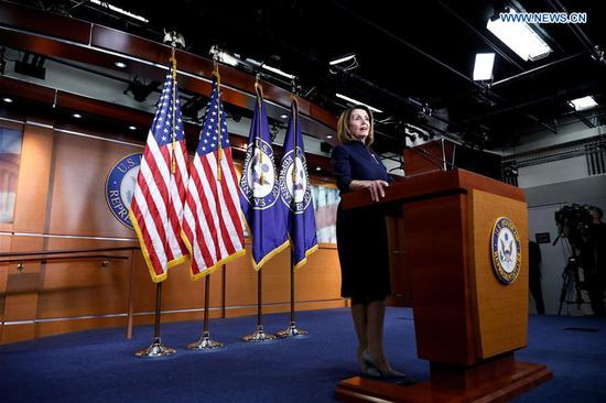 U.S. House Speaker Nancy Pelosi speaks during a press conference on Capitol Hill in Washington D.C., the United States, on Feb. 14, 2019. Nancy Pelosi, the top Democrat in the House, said her party is