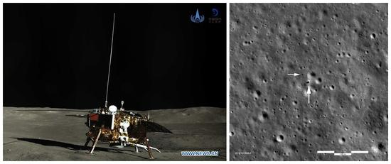 Left: Panoramic photo shows the lander of the Chang'e-4 probe. (Xinhua/China National Space Administration) Right: Looking down on the Chang'e 4 landing site. (NASA/GSFC/Arizona State University)