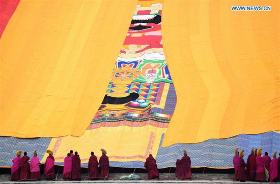 Annual 'sunning of the Buddha' ceremony of Labrang Monastery held