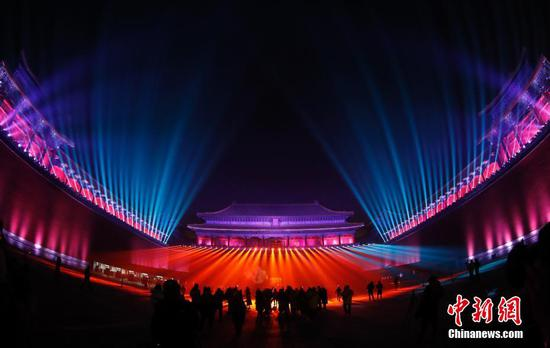 The Palace Museum shines during the Lantern Festival