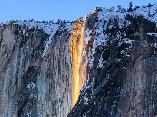 'Lava waterfall' reappears at Yosemite National Park