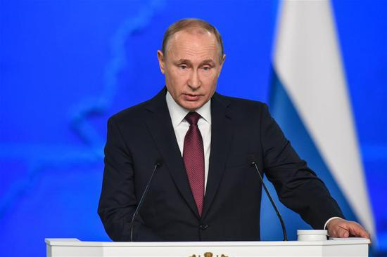 Russia's President Vladimir Putin speaks during the annual address to the Federal Assembly in Moscow, Russia, Feb. 20, 2019. The preliminary results of the implementation of Russia's national projects should be summed up in 2020, Putin said Wednesday. (Xinhua/Evgeny Sinitsyn)