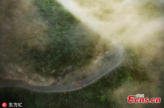 Stunning view of meandering road in Guangxi