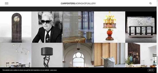 Information about Karl Lagerfeld's exhibition on the Carpenters Workshop Gallery's website. /Screenshot via Carpenters Workshop Gallery