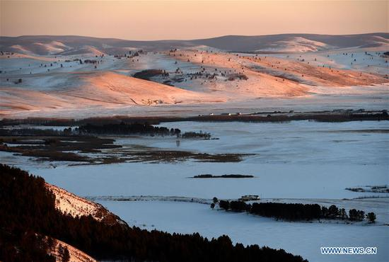 View of Moheertu national wetland park in Inner Mongolia