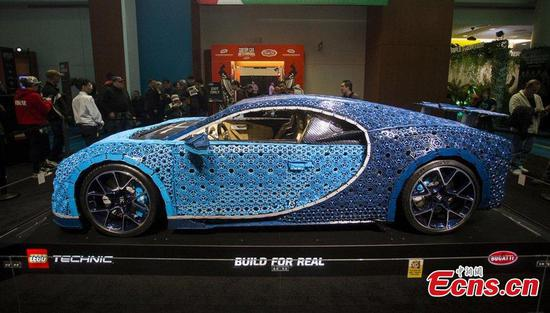 Bugatti Chiron model made of LEGO seen at Toronto Auto Show 2019