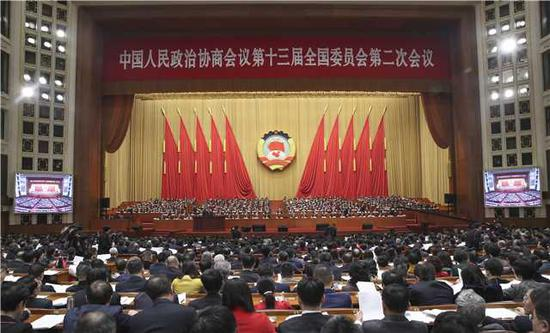 The second session of the 13th Chinese People's Political Consultative Conference (CPPCC) National Committee starts in Beijing, March 3, 2019. (Photo by Zou Hong/chinadaily.com.cn)