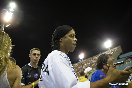 Brazil's former football player Ronaldinho seen in parades of Rio Carnival 2019