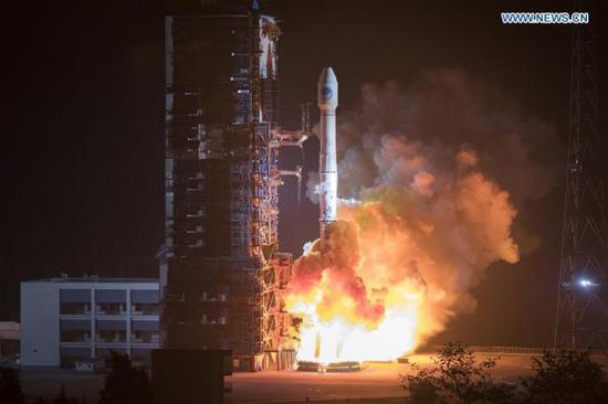 China sends two new satellites of the BeiDou Navigation Satellite System (BDS) into space on a Long March-3B carrier rocket from the Xichang Satellite Launch Center in Sichuan Province at 2:07 a.m. on Nov. 19, 2018. (File Photo/Xinhua)