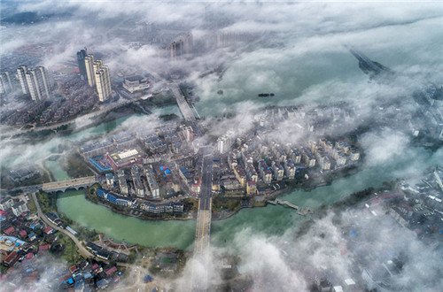 Drone photo shows amazing skyline in Jiangxi